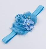 Baby haarbandje bloemen (blauw)