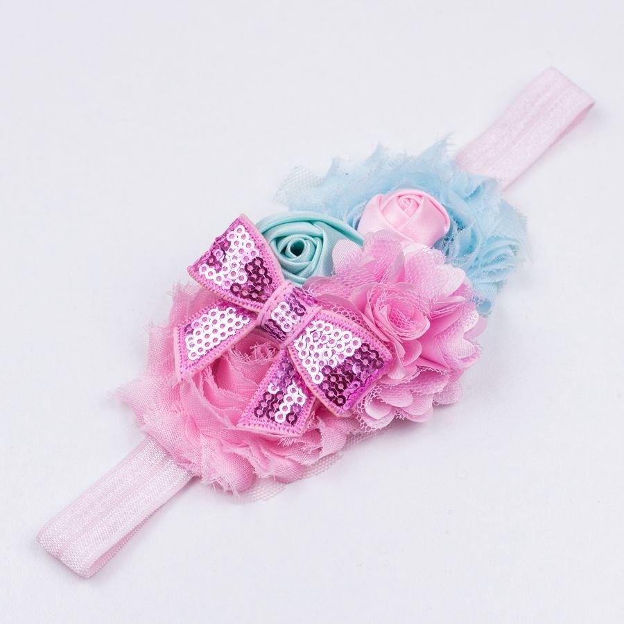 Baby haarbandje mint/lichtblauw/lichtroze