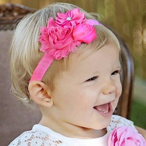 Baby haarband shabby chic (fuchsia)