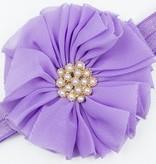 Baby haarbandje vintage bloem parel lila