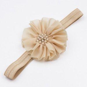 Baby haarbandje vintage bloem parel (zand)