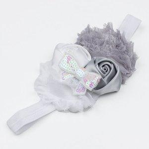 Baby haarbandje wit/grijs