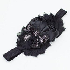 Baby haarbandje shabby/satijn/strik (zwart)