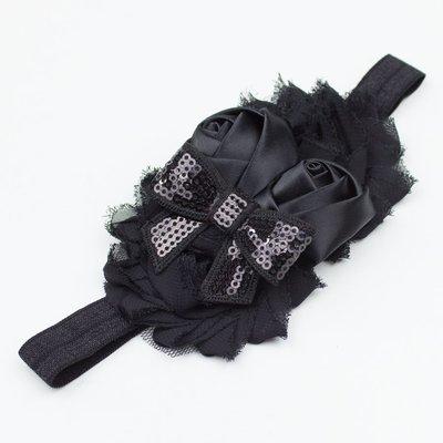 Haarbandje shabby/satijn/strik (zwart)