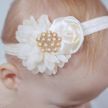 Baby haarbandje bloemen satijn/chiffon met parels (grijs)