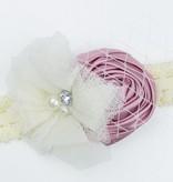 Baby kanten haarbandje met satijnen roos, tule bloem en voile (oudroze/ivoor)