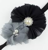 Baby haarbandje tule/chiffon met parels (grijs/zwart)