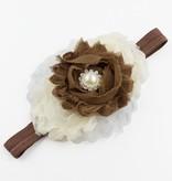 Baby haarbandje shabby bloemen op kant (bruin/ivoor)