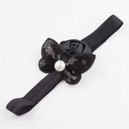 Haarbandje roos en vlinder met parel (zwart)