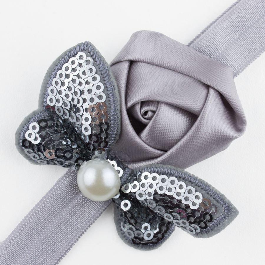 Baby haarbandje roos en vlinder met parel (grijs)