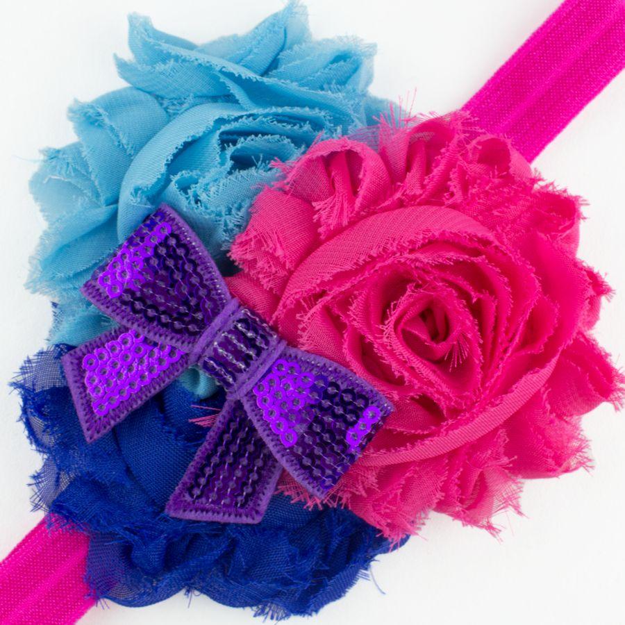 Baby haarbandje shabby bloemen met glitter strik (fuchsia/blauw/lila)