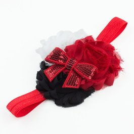 Haarbandje shabby met glitter (rood/zwart/wit)