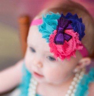 Baby haarbandje shabby bloemen met glitter strik (rood/zwart/wit)