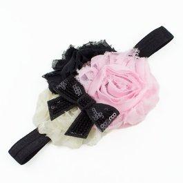 Haarbandje shabby met glitter (roze/ivoor/zwart)