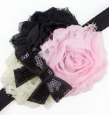 Baby haarbandje shabby bloemen met glitter strik (roze/ivoor/zwart)