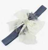 Baby haarbandje kanten strik met strass (ivoor/grijs)