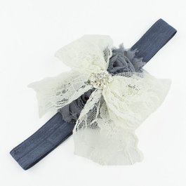 Haarbandje kanten strik met strass (ivoor/grijs)