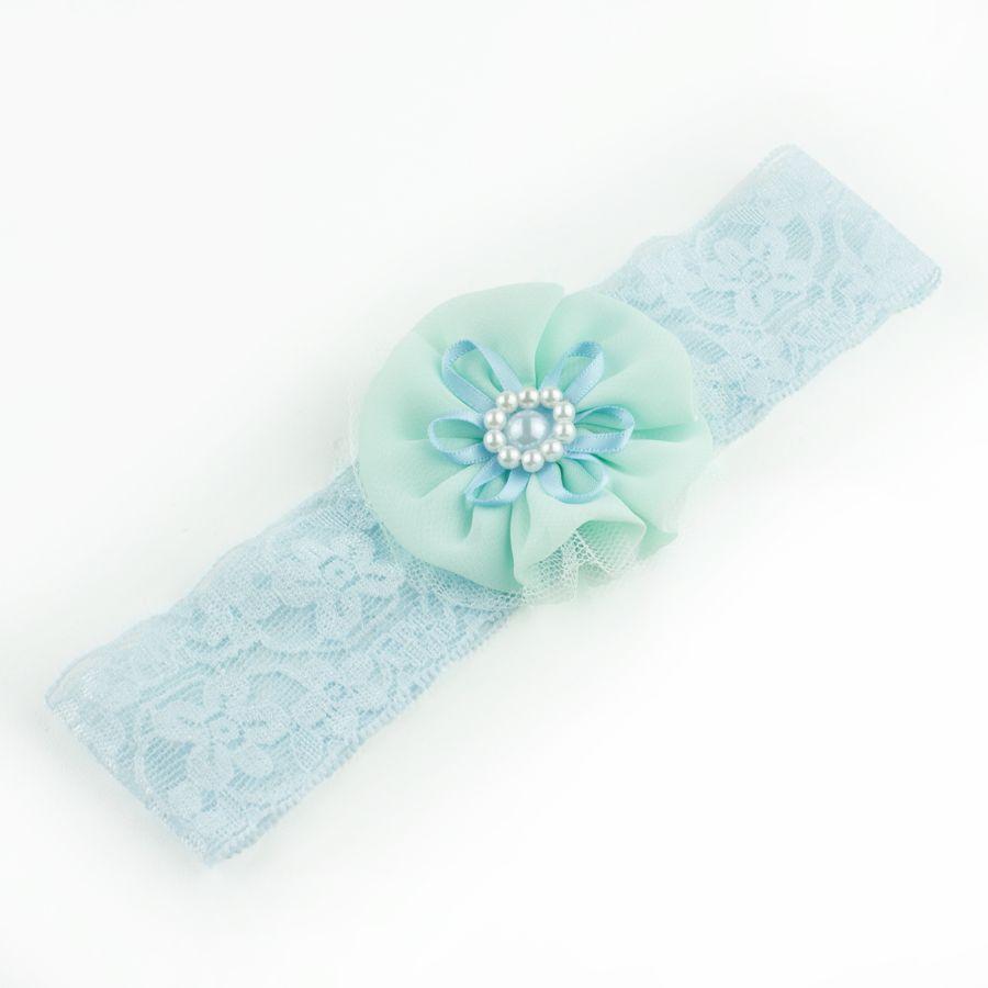 Baby haarbandje kant met turquoise bloem