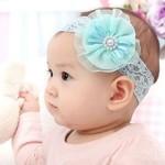 Haarbandje kant met turquoise bloem
