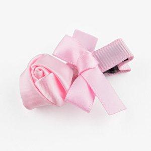 Baby haarspeldje met mini roosje en strik (lichtroze)