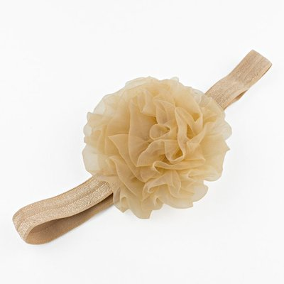 Haarbandje grote organza bloem (zand)