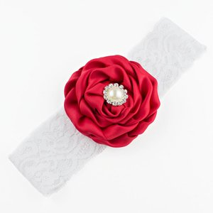 Baby haarbandje bloem met parel op kant (rood)