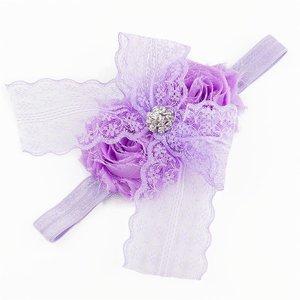 Baby haarbandje kanten strik met strass (lila)