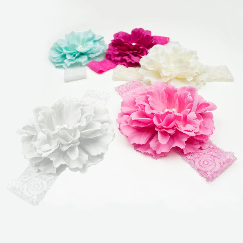 Baby haarbandje pioenroos op kant (roze)