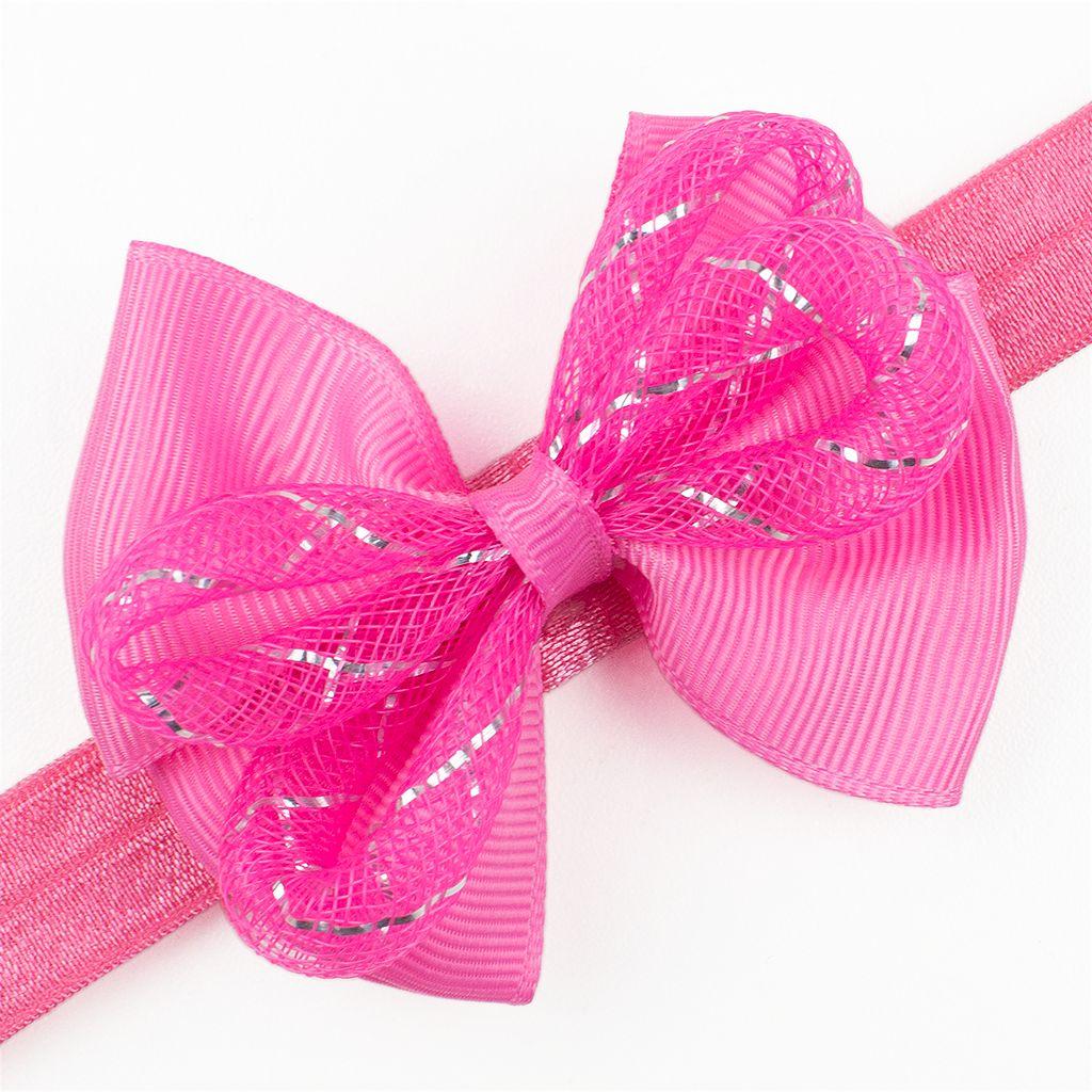 Baby haarbandje met strik glitter (roze)