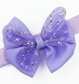 Baby haarbandje met strik glitter (lila)
