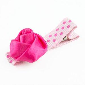 Baby haarspeldje met mini roosje (fuchsia/lichtroze)