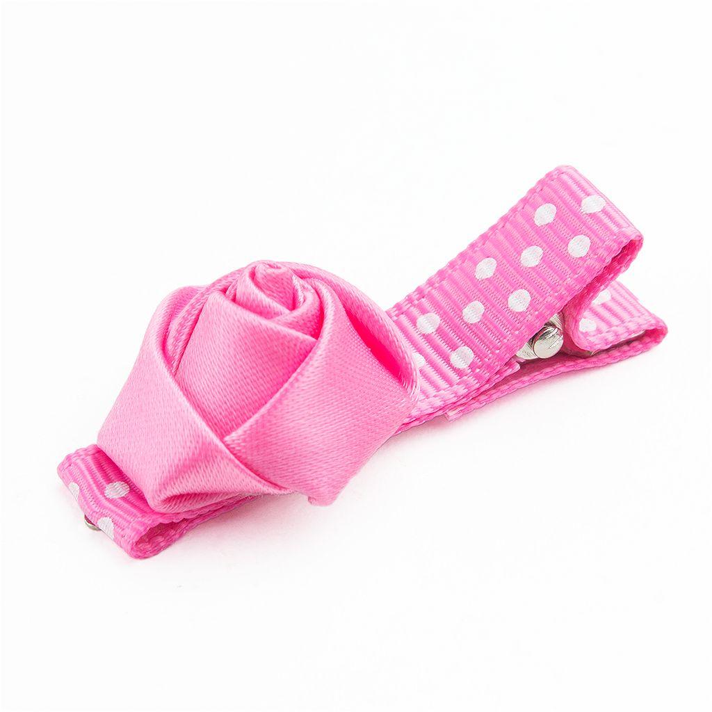 Baby haarspeldje met mini roosje (roze)