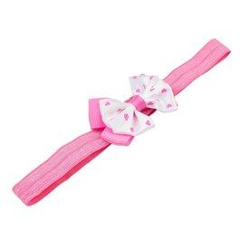 Haarbandje met dubbel hartjes strikje (roze)