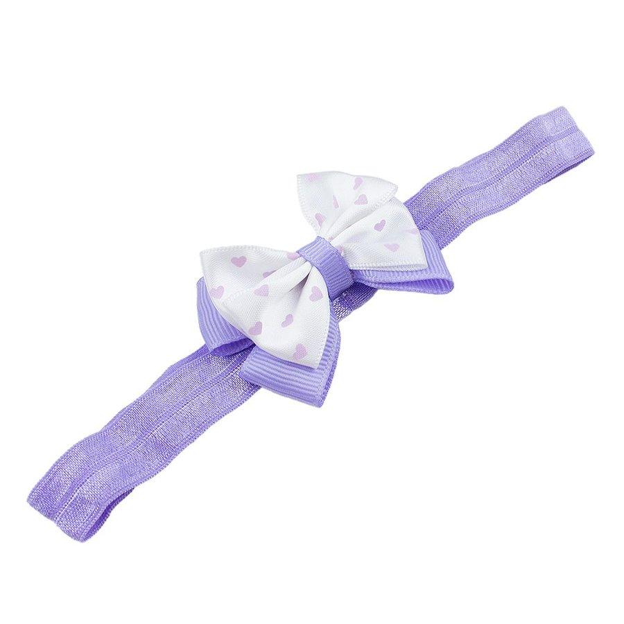 Baby haarbandje met dubbel hartjes strikje (lila)