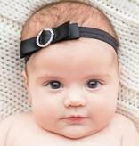 Baby haarbandje strik met strass clip (zwart)
