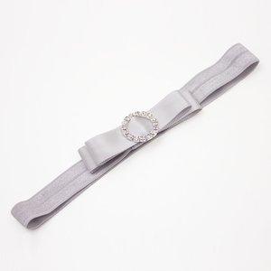 Baby haarbandje strik met strass clip (grijs)