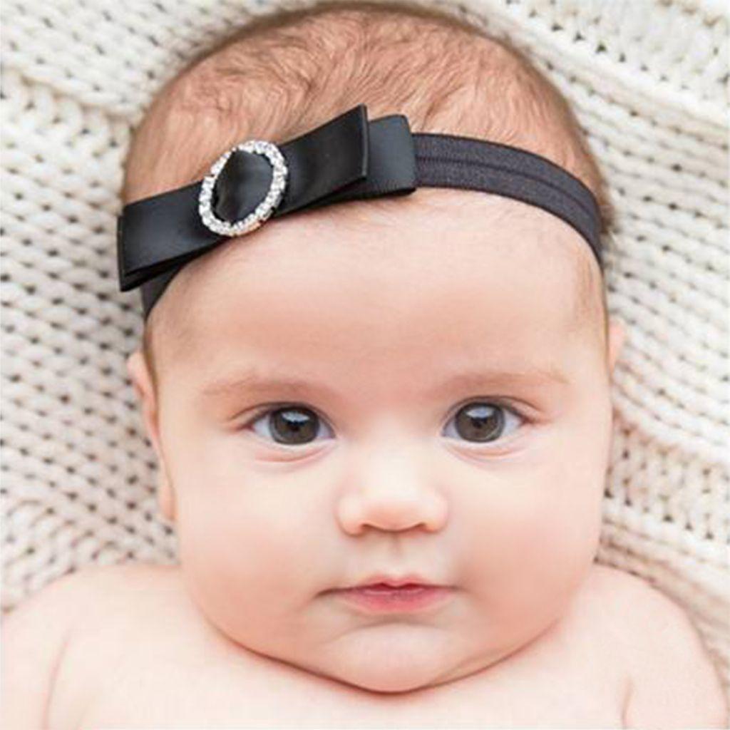 Baby haarbandje strik met strass clip (ivoor)