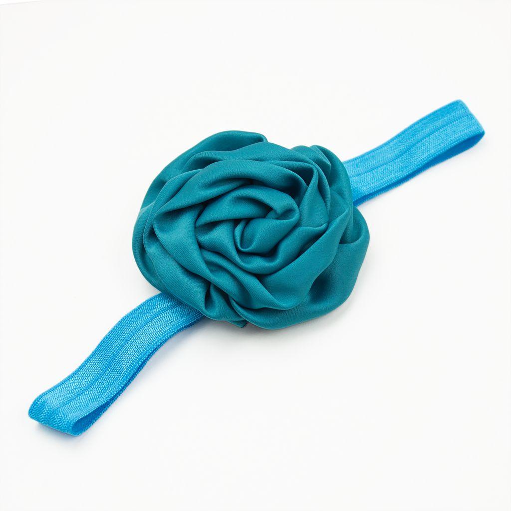 Baby haarbandje gerolde rozet (aqua-groen)