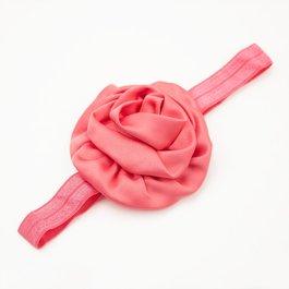 Haarbandje gerolde rozet (koraal)