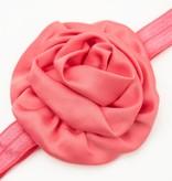 Baby haarbandje gerolde rozet (koraal)