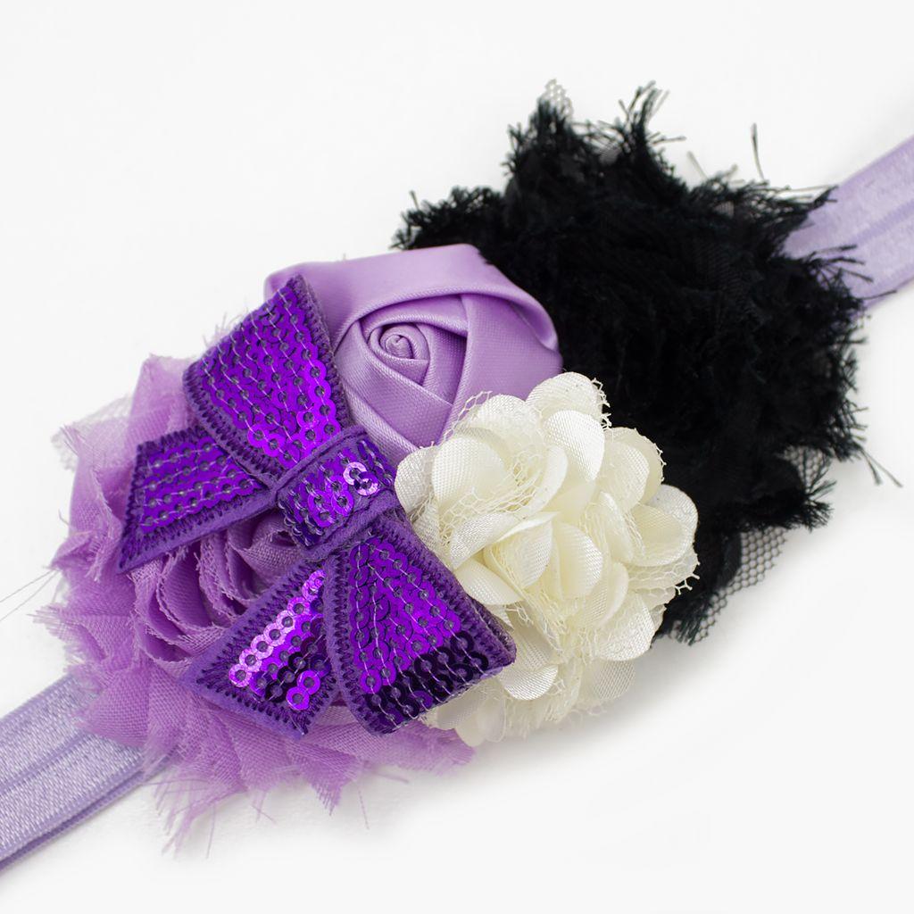 Baby haarbandje paars/lila/ivoor