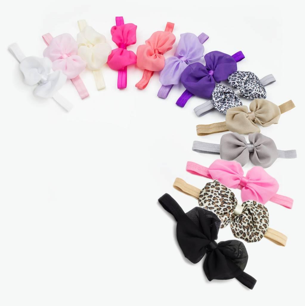 Baby haarbandje met chiffon strik (paars)
