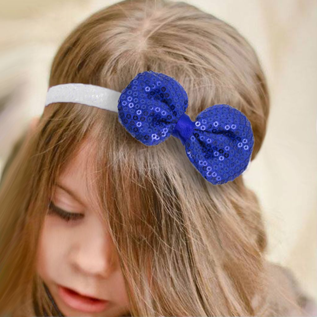 Baby haarbandje strik met glitterpailletjes (donkerblauw)