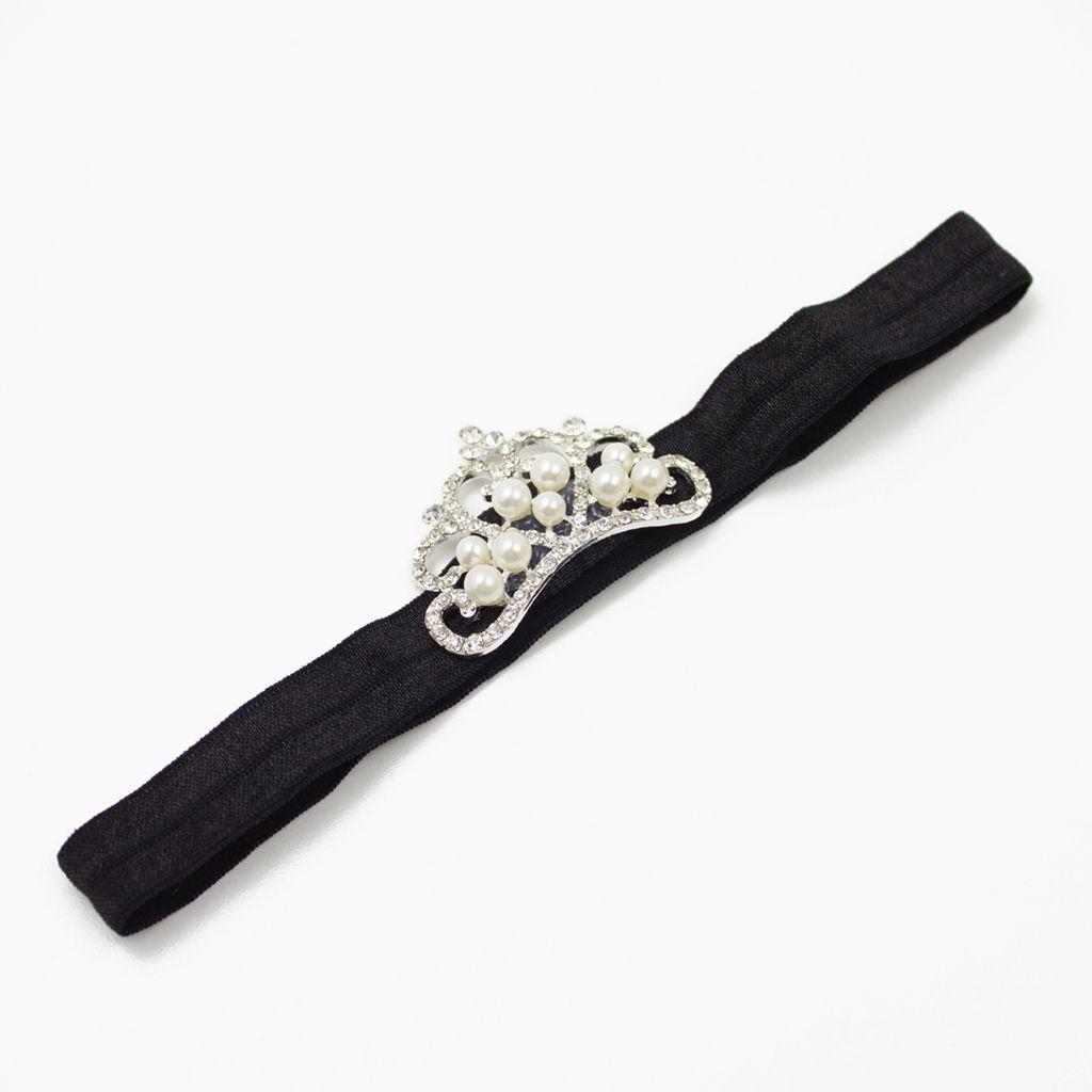 Baby haarbandje met tiara (zwart)