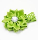 Haarspeldje margriet met strass (groen)