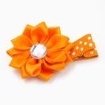 Haarspeldje margriet met strass (oranje)