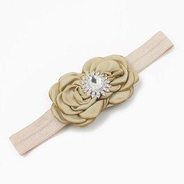 Haarbandje luxe rozetten met strass (zand)