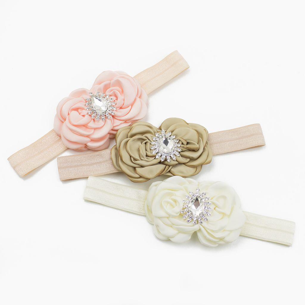 Baby haarbandje luxe rozetten met strass (zand)