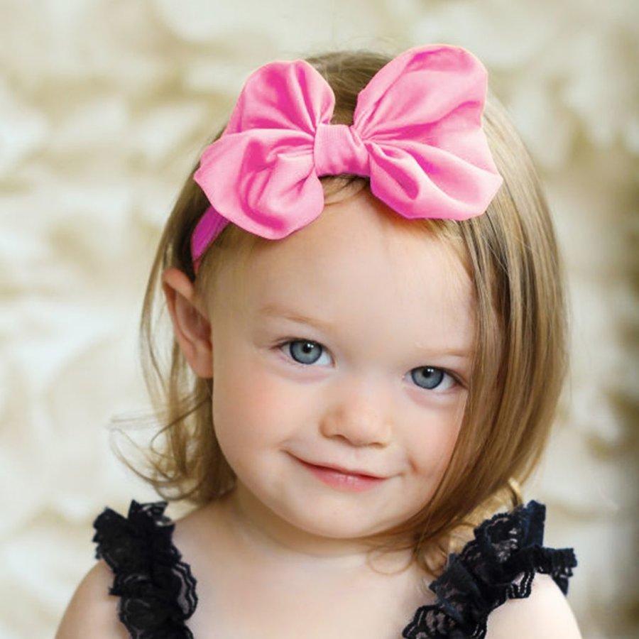 Baby haarbandje met chiffon strik (roze)