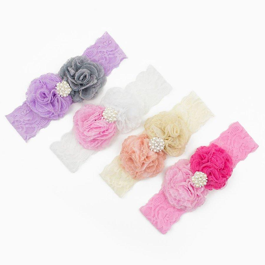 Baby haarbandje kanten bloemen en parel applicatie (wit/lichtroze)